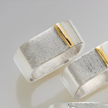Load image into Gallery viewer, Stacking Square Sterling Silver Gold Bar Ring
