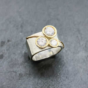 Tri-Diamond CZ Bezel Ring Size 6-8.5