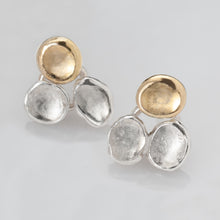 Load image into Gallery viewer, Tri-Petals Silver and Gold Earrings