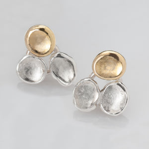 Tri-Petals Silver and Gold Earrings