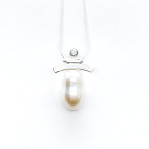 White CZ and Pearl Inukshuk Slider Necklace