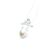 Load image into Gallery viewer, White CZ and Pearl Inukshuk Slider Necklace