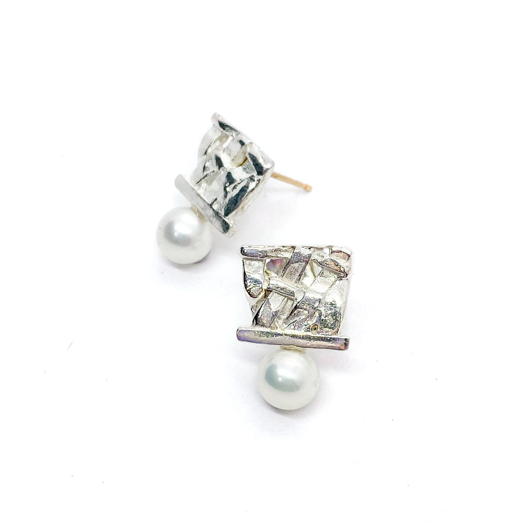 Woven Pearl Studs