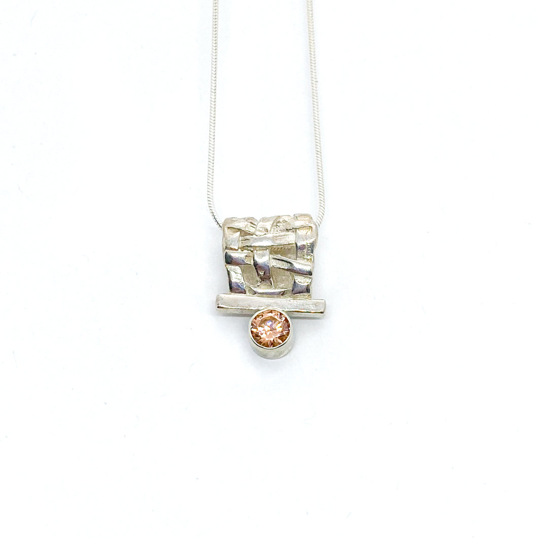 Pink CZ Woven Slider Necklace