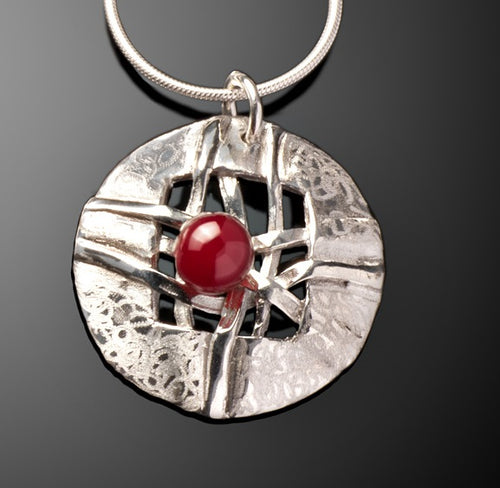 Woven Small Round Disc with Carnelian Necklace