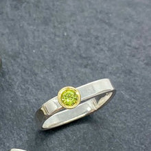 Load image into Gallery viewer, Skinny Square Stacking Gold Bezel Set Peridot Ring