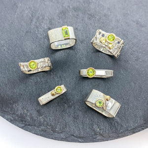 Easy Comfortable Skinny Woven Basket Ring Bezel set with Peridot