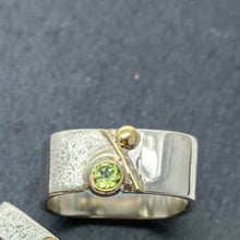Load image into Gallery viewer, Unique Large Square Stacking Silver & Gold Set Peridot Ring
