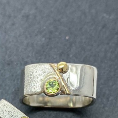Unique Large Square Stacking Silver & Gold Set Peridot Ring
