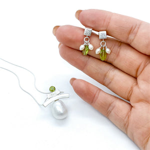 Elegant Cube Studs with mini pearls and peridot