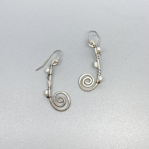 Spiral with Pearl Earrings