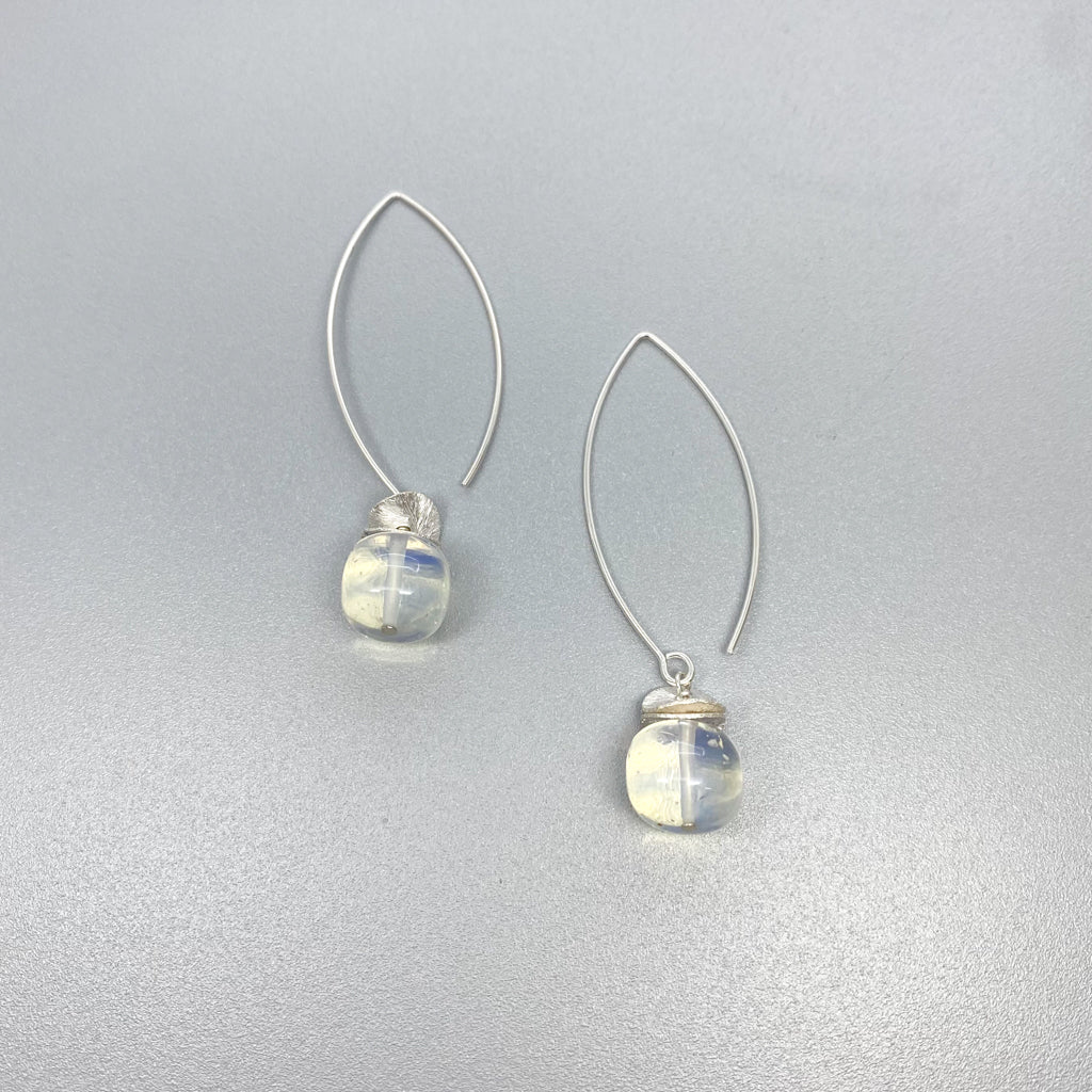 Long Opalite Acorn Earrings