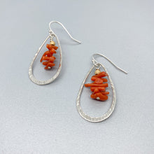 Load image into Gallery viewer, Hammered Leaf with Red Coral Earrings