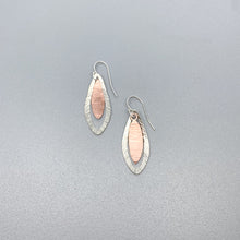 Load image into Gallery viewer, Hammered Silver and Copper Earrings