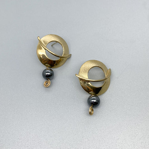 Balanced Orbit Vermeil Gold with Hematite Stud Earrings