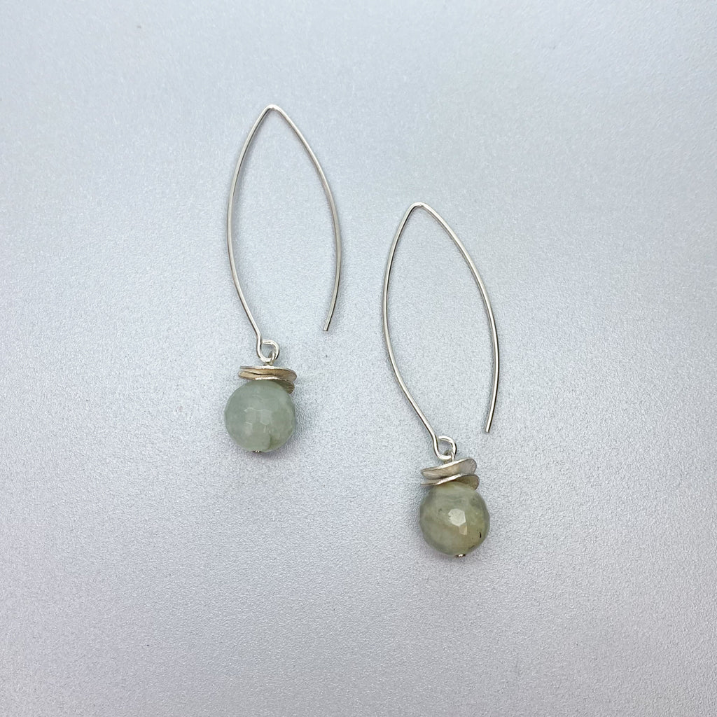 Long Aquamarine Acorn Earrings