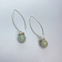 Load image into Gallery viewer, Long Aquamarine Acorn Earrings