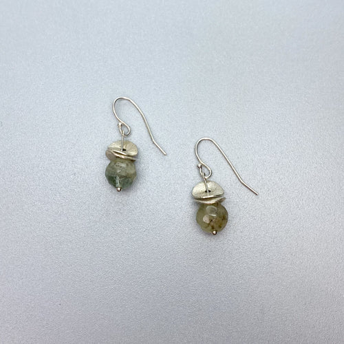 Short Dangle Aquamarine Acorn Earrings