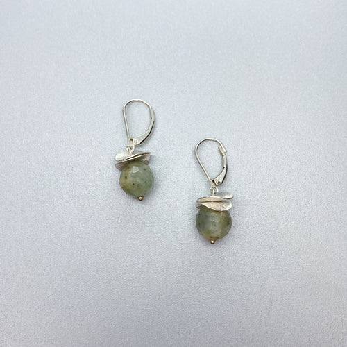 Leverback Aquamarine Acorn Earrings