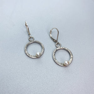 Leverback White Pearl Circle Earrings
