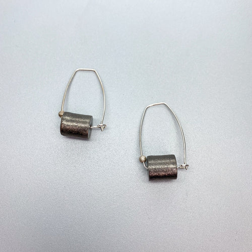 Silver Oxidized Cylindrical Earrings