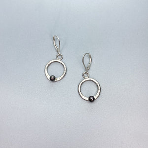 Leverback Black Pearl Circle Earrings