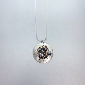 Woven Pearl Disc Necklace