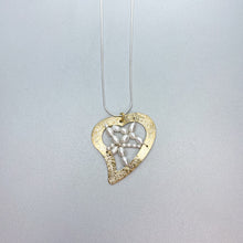 Load image into Gallery viewer, Vermeil Woven Pearl Heart Necklace