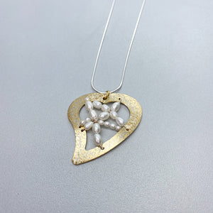 Vermeil Woven Pearl Heart Necklace