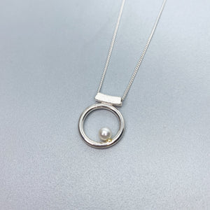Pearl Orbit Slider Necklace