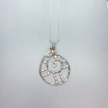 Load image into Gallery viewer, Large Dream Catcher Woven Pearl Scroll Necklace