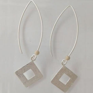 Scribble Square Diamond Long Dangle Earrings
