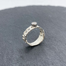 Load image into Gallery viewer, Skinny Woven Basket Ring with CZ - Size 6