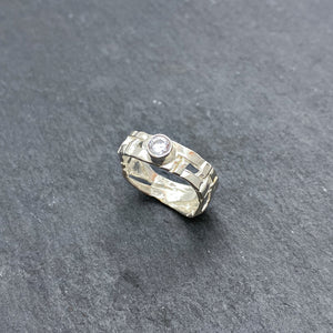 Skinny Woven Basket Ring with CZ - Size 6