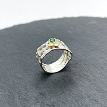 Load image into Gallery viewer, Woven Basket Emerald Bezel Ring Size 7.5