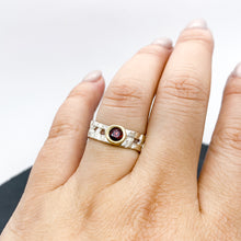 Load image into Gallery viewer, Skinny Woven Basket Garnet Bezel Ring Size 6