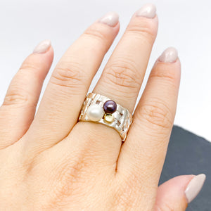 Woven Basket Cluster Pearl Ring