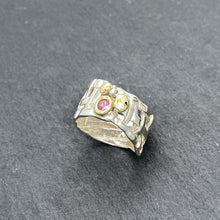 Load image into Gallery viewer, Woven Basket Pebble Pink Tourmaline Ring Size 7