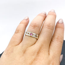 Load image into Gallery viewer, Skinny Woven Basket Pink Tourmaline Bezel Ring size 6