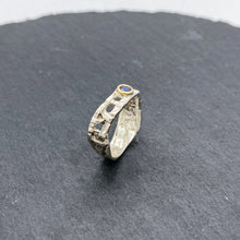 Load image into Gallery viewer, Skinny Woven Basket Blue Sapphire Bezel Ring Size 7.5