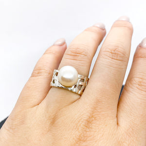 Woven Basket Large Pearl Ring