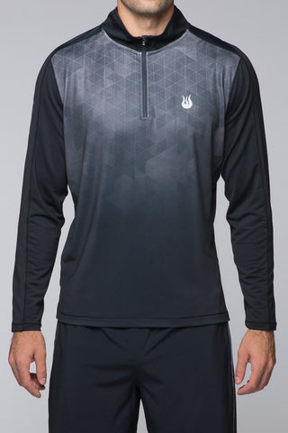 Men's, Quarter Zip, Long Sleeves, Layering Piece, Accelerate 1/4 zip - Black Geo