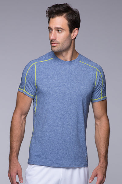 Lightweight, chafing free, sweatwicking, odor resistant, Tech Tee - Blue Heather