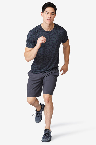 "Sweat wicking shorts, Lightweight, Accelerate 9"" Short - Charcoal"