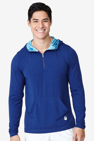 Lightweight hoodie, hiking, jog, run, track, training, indoor, outdoor, sweat wicking, Kick it Hoodie - Blue Depths