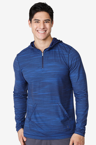 Lightweight hoodie, hiking, jog, run, track, training, indoor, outdoor, sweat wicking, Kick it Hoodie - Turkish Blue