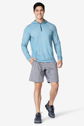 Men's, Layering,Quarter Zip, Hoodie, Kick it Hoodie - Blue Hex