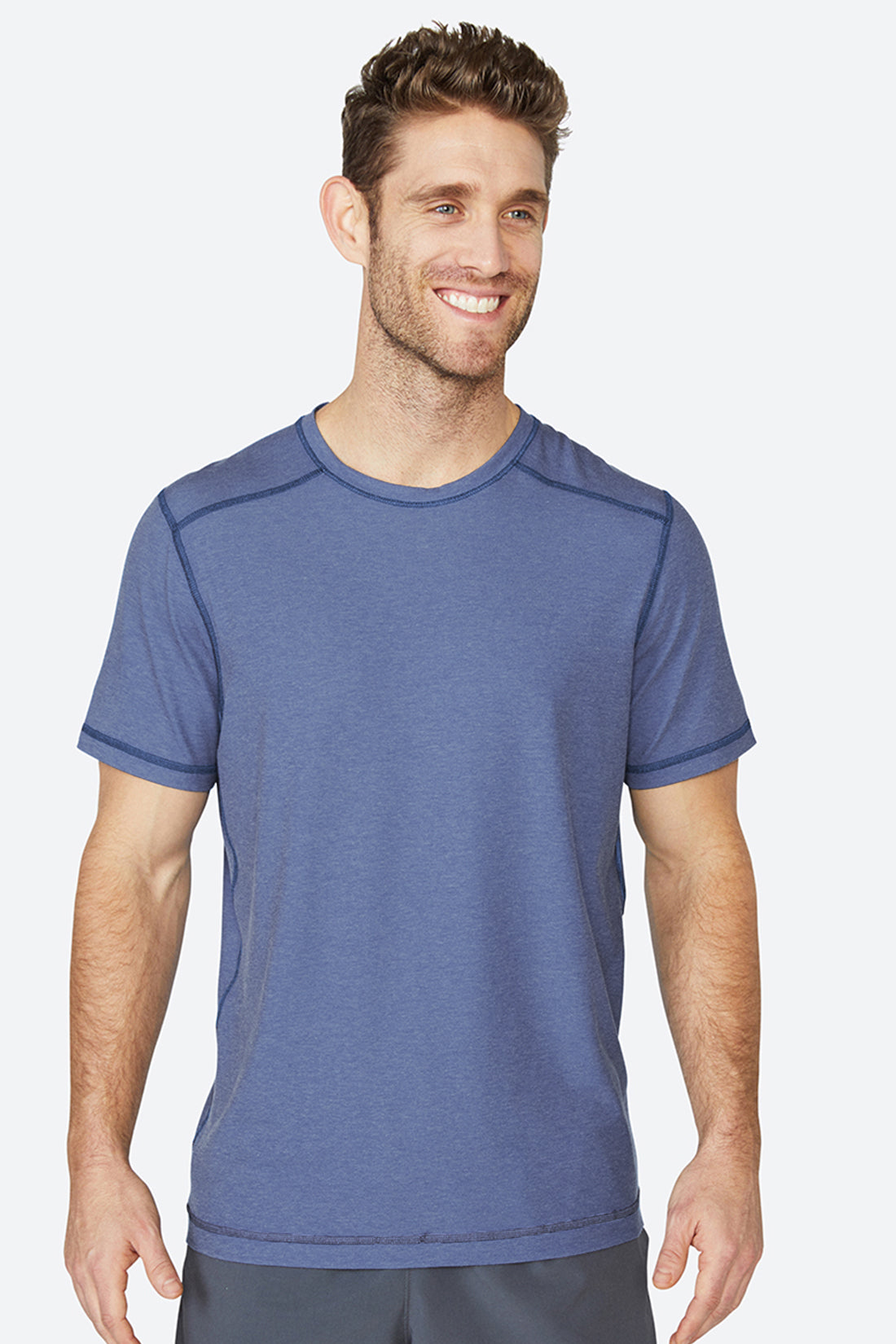 Lightweight, chafing free, sweatwicking, odor resistant, Tech Tee - Heather Blue