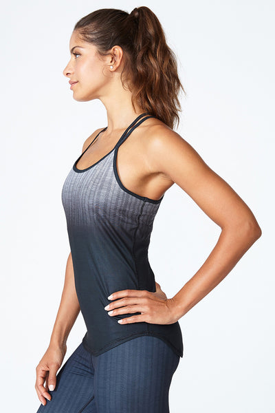 2-in-one top, Bra and Tank, Comfortable, Sweat wicking, Yoga, Spin, Training, Double Up Tank - Black Shade