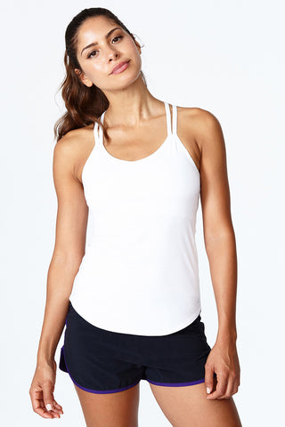 White 2-in-1 top, bra tank, comfortable, fitted, Double Up Tank - Bright White
